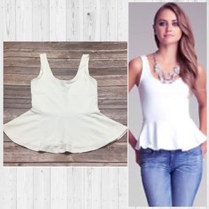 Bebe White Peplum Top